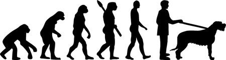 Irish Wolfhound evolution development with silhouette