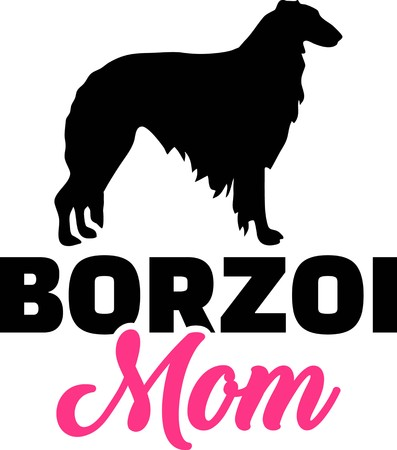 Borzoi mom silhouette with pink word Illustration