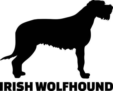 Irish Wolfhound silhouette real with word