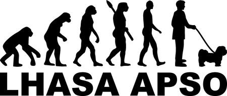 Lhasa Apso evolution with word in black Illusztráció
