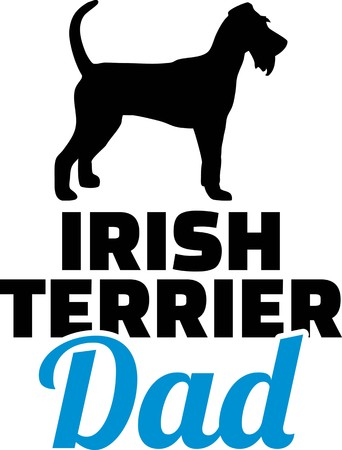 Irish Terrier dad silhouette with blue word