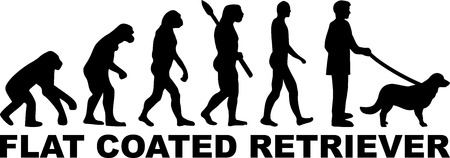 Flat Coated Retriever evolution with word in black