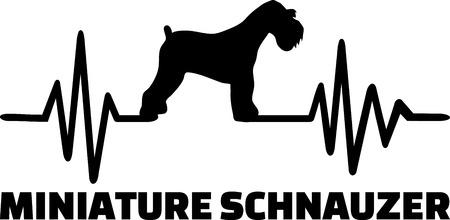 Heartbeat pulse line with Miniature Schnauzer silhouette