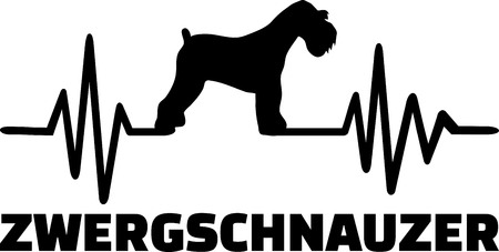Heartbeat pulse line with Miniature Schnauzer dog silhouette german Illustration