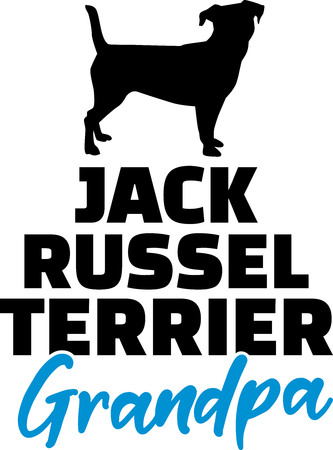 Jack Russell Terrier Grandpa silhouette black with blue word