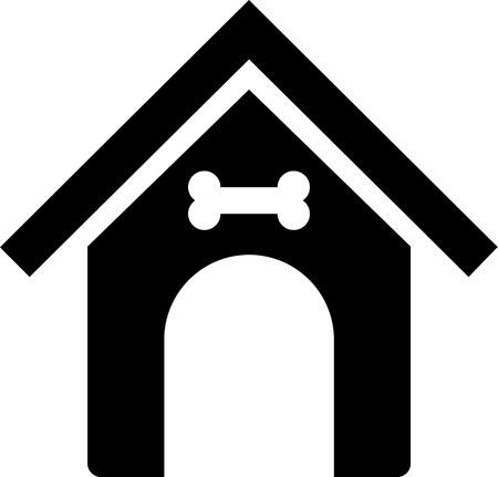 Doghouse silhouette in black with bone Ilustração