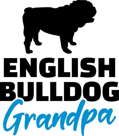 English Bulldog Grandpa silhouette black Illustration