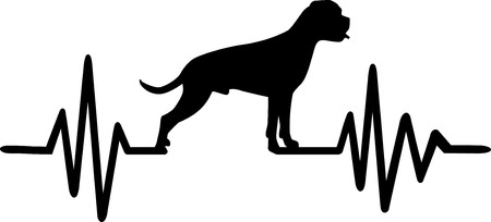 Heartbeat pulse with Boxer dog silhouette Ilustracja