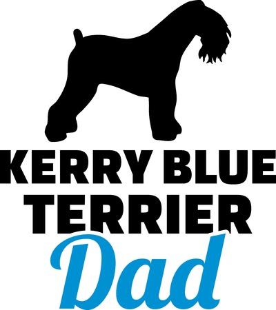 Kerry Blue Terrier dog dad silhouette with blue word Ilustração