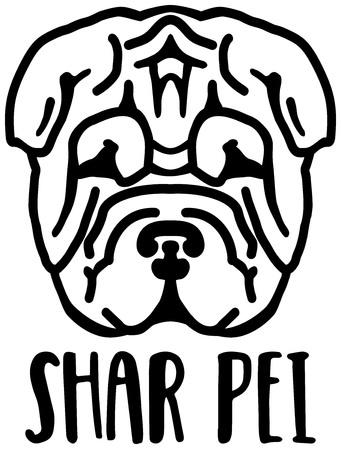 Shar Pei head black with name Ilustração