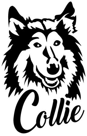 Collie head black with name Ilustração