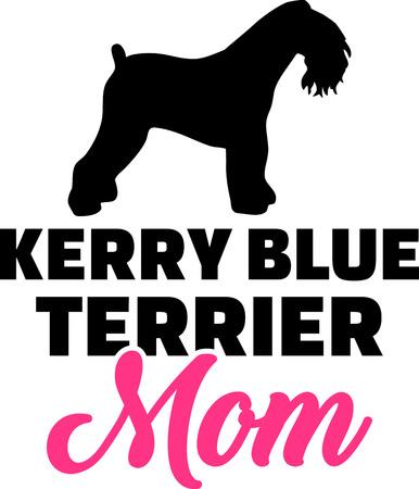 Kerry Blue Terrier dog mom silhouette with pink word Ilustração