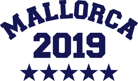 Mallorca 2019 with blue stars Ilustração
