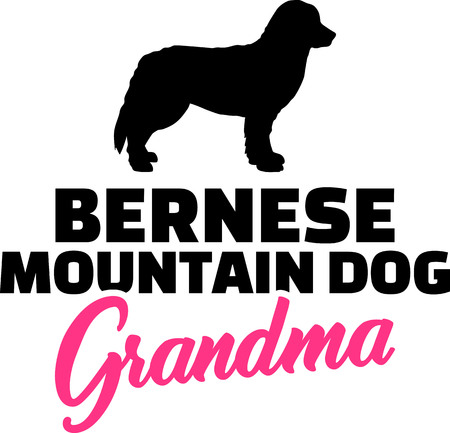 Bernese Mountain Grandma silhouette pink word