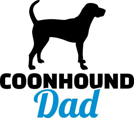 Coonhound dad silhouette with blue word Ilustração