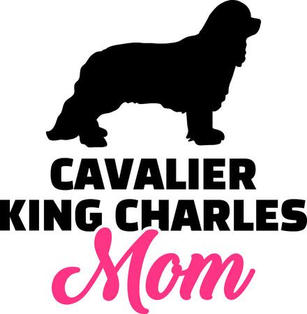Cavalier King Charles mom pink  イラスト・ベクター素材