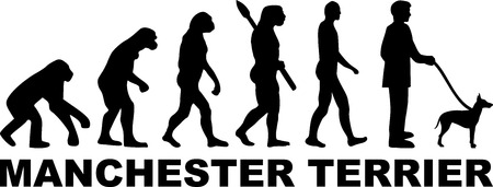Manchester Terrier dog evolution with word in black