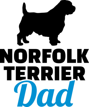 Norfolk Terrier dad dog silhouette with blue word