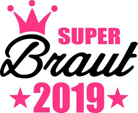 Super novia 2019 corona estrellas aleman Ilustración de vector