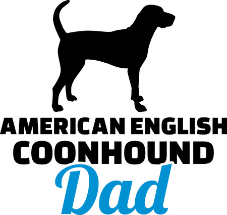 American English Coonhound dad silhouette with blue word Ilustração