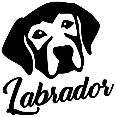 Labrador head black with name