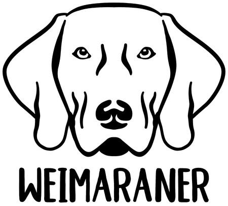 Weimaraner head black with name