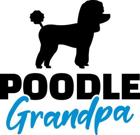 Poodle Grandpa silhouette blue word