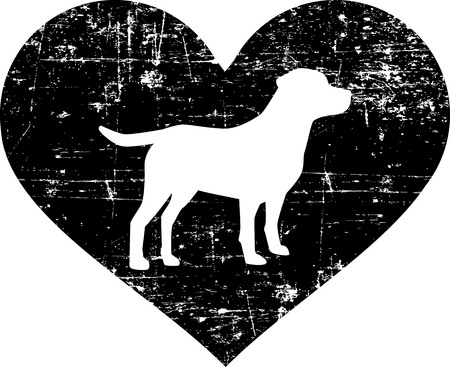 Labrador silhouette in black heart