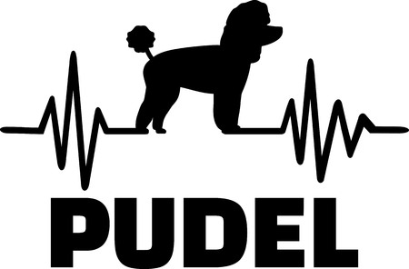Heartbeat pulse line with Poodle dog silhouette german Ilustração