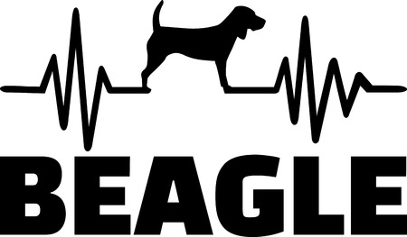 Heartbeat frequency with Beagle dog silhouette