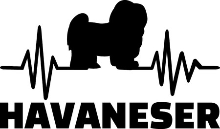Heartbeat pulse line with Havanese dog silhouette german