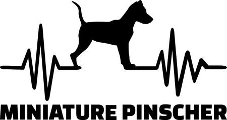 Línea de latido del corazón con silueta de perro Pinscher miniatura