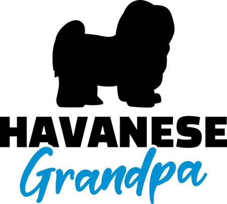 Havanese Grandpa silhouette blue word