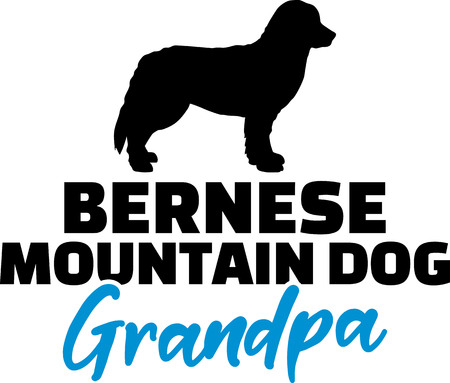 Bernese Mountain Grandpa silhouette blue word