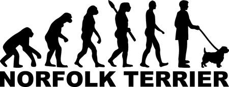 Norfolk Terrier dog evolution with word in black