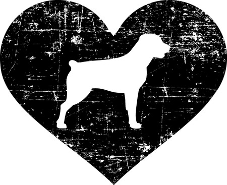 Rottweiler silhouette in black heart
