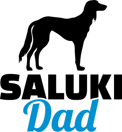 Saluki dog dad silhouette with blue word Illustration