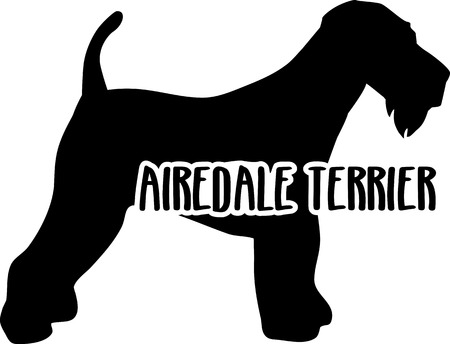 Airedale Terrier silhouette real with word Illustration