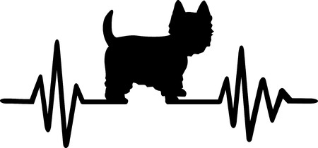 Heartbeat frequency with Westie dog silhouette