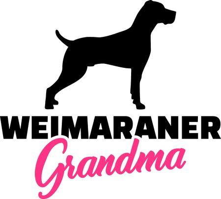 Weimaraner Grandma silhouette in black Illustration