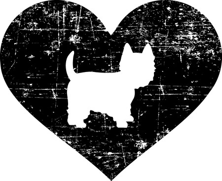 Westie silhouette in black heart