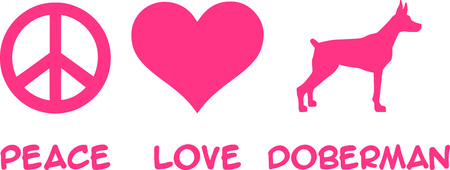 Peace, Love, Doberman slogan pink Illustration