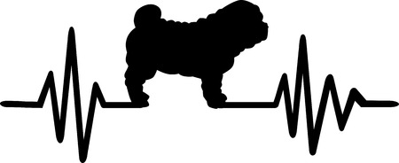 Heartbeat frequency with Shar Pei dog silhouette