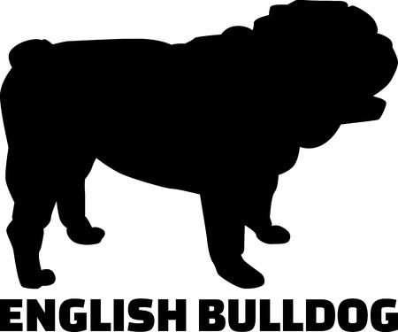 Englische Bulldogge Silhouette in Schwarz