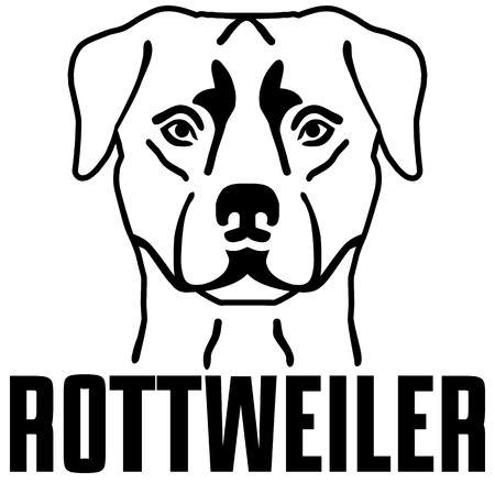 Rottweiler head black with name