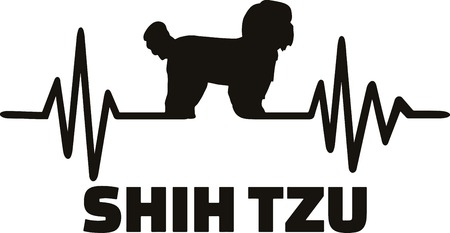 Heartbeat frequency with Shih Tzu dog silhouette