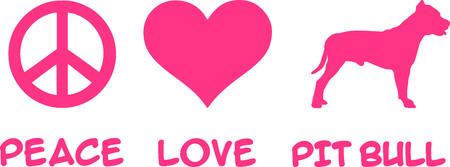 Peace, Love, Pit Bull Terrier slogan pink