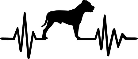 Staffordshire Bull Terrier pulse line with silhouette