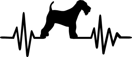 Heartbeat pulse line with Airedale Terrier dog silhouette