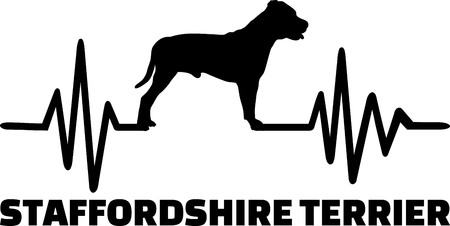 Staffordshire Bull Terrier heartbeat with silhouette Illustration